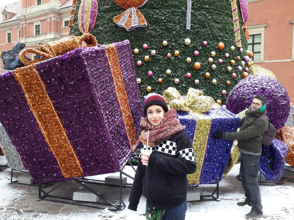 Árbol navideño en la Plaza del Castillo, Varsovia.