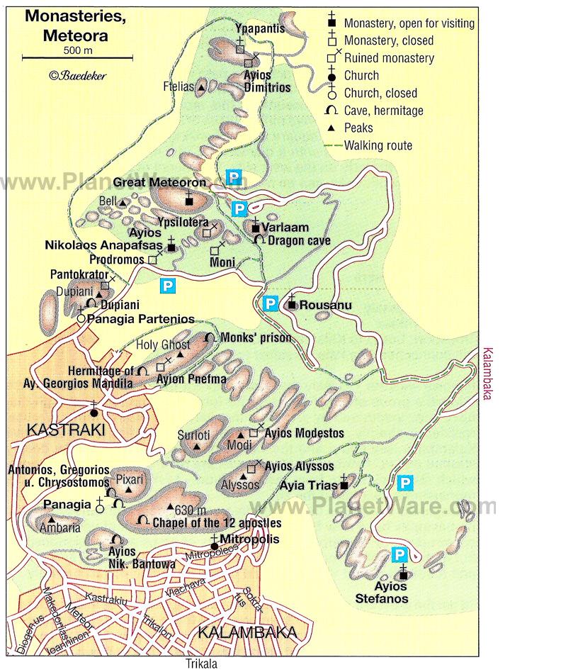 Mapa Meteora, Grecia.