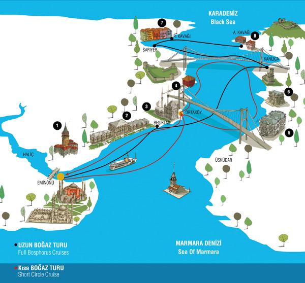Mapa crucero Bósforo
