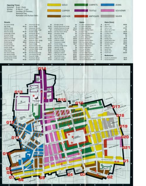 Mapa Gran Bazar de Estambul