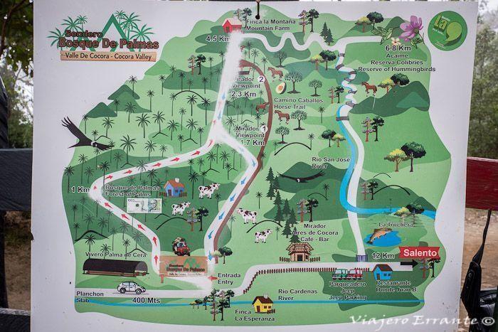 Mapa del Valle del Cócora, Colombia.
